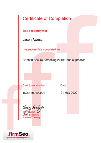 BS7858 2019 Secure Screening and Vetting